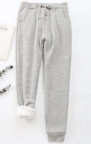 Женские утепленные брюки, цвет светло-серый