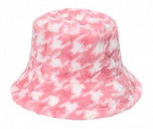 Теплая панама унисекс, с принтом, цвет розовый