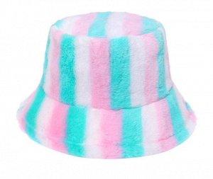 """Теплая панама унисекс, принт """"разноцветные полосы"""", цвет бирюзовый/розовый"""