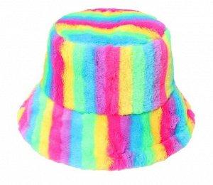 """Теплая панама унисекс, принт """"разноцветные полосы"""", цвет разноцветный"""