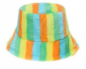 """Теплая панама унисекс, принт """"разноцветные полосы"""", цвет зеленый/желтый/оранжевый/голубой"""