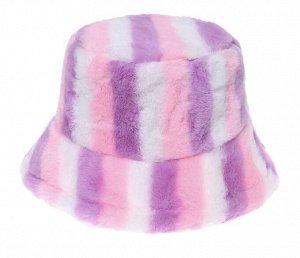 """Теплая панама унисекс, принт """"разноцветные полосы"""", цвет розовый/фиолетовый"""