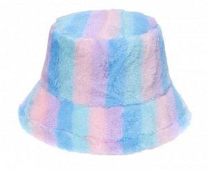 """Теплая панама унисекс, принт """"разноцветные полосы"""", цвет голубой/сиреневый/розовый"""