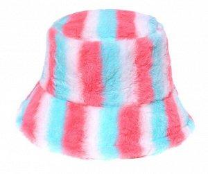 """Теплая панама унисекс, принт """"разноцветные полосы"""", цвет красный/голубой/белый"""
