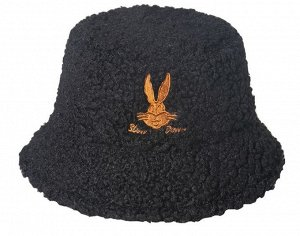 Теплая панама унисекс, с принтом и надписью, цвет черный