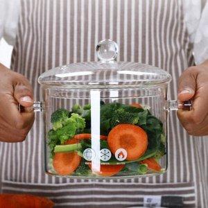 Кастрюля Кастрюля сделана из высококачественного боросиликатного жаропрочного стекла что обеспечивает ее долговечность и безопасность для здоровья. Данный материал безопасный для контакта с пищей, не