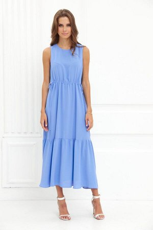 Сарафан Рост: 164-170 см. Состав ткани: 87% полиэстр, 13% спандекс Платье сарафан длиной миди. Круглы вырез горловины, талия с кулисой, ярусная юбка с оборками.   Длина изделия – 126 см   Размерность