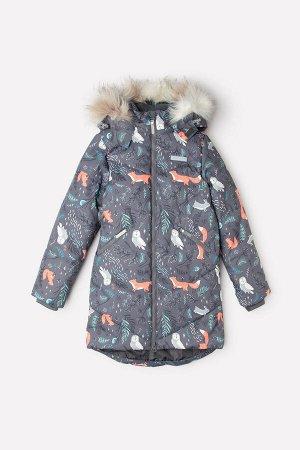 Пальто(Осень-Зима)+girls (темно-серый, лесные животные)