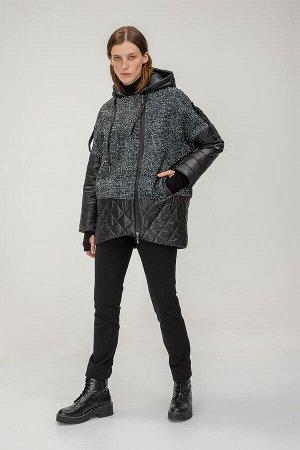Куртка Куртка свободного кроя. Куртка выполнена из двух тканей, отличающихся друг от друга по фактуре. Эта модель отлично дополнит образы с брюками и джинсами, а также платьями длины миди. - Свободный