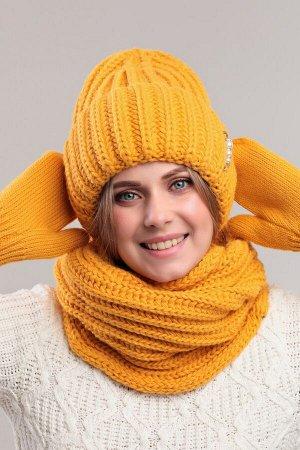 Комплект комплект (шапка снуд варежки); горчичный; Двухслойная, полный флис -  50% шерсть - 50% акрил