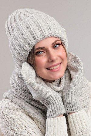 Комплект комплект (шапка снуд варежки); светло серый; Двухслойная, полный флис -  50% шерсть - 50% акрил