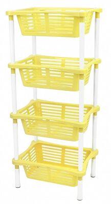 Этажерка Этажерка 4-х секц прямоуг с корзинами [KRITA] ЛЕТО Этажерка с корзинами Krita 4-секционная из пластика станет незаменимым помощником в Вашем доме. Данный вид изделия пользуется популярностью