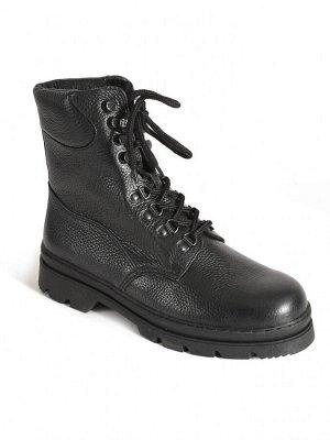 Ботинки мужские зимние, черная кожа