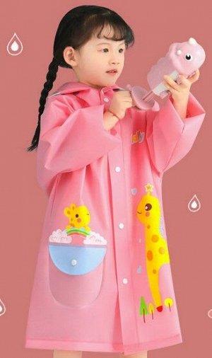 Детский плащ дождевик, цвет розовый
