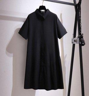 Женское платье-рубашка с коротким рукавом, цвет черный
