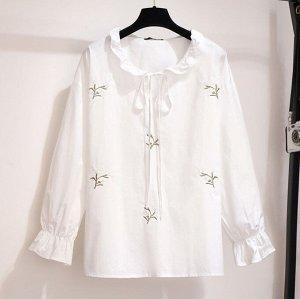 Женская блуза с длинным рукавом, цвет белый