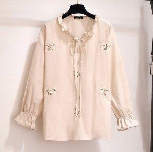 Женская блуза с длинным рукавом, цвет персиковый
