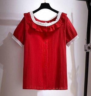 Женская блуза, с коротким рукавом, на пуговицах, цвет красный