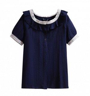 Женская блуза, с коротким рукавом, на пуговицах, цвет синий