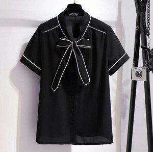Женская блуза с коротким рукавом, цвет черный
