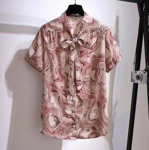 Женская блуза с коротким рукавом, цвет розовый