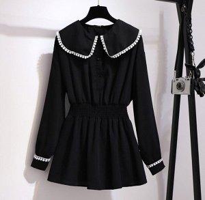 Женская блуза с длинным рукавом, цвет черный