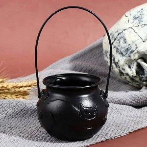 Ведерко для конфет Котелок, цвет черный, фиолетовый 7*7см