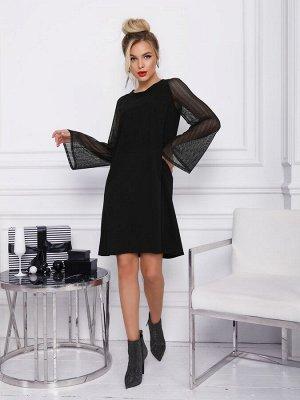 Черное платье-трапеция с полупрозрачными рукавами/