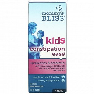 Mommy's Bliss, Kids Constipation Ease, для нормализации работы ЖКТ у детей, от 4 лет, апельсин, 120 мл (4 жидк. унции)