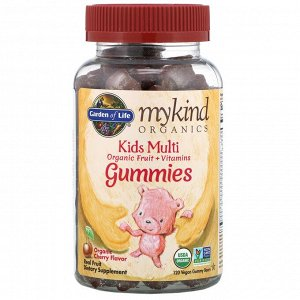 Garden of Life, MyKind Organics, детский мультивитамин, органический ароматизатор со вкусом вишни, 120 веганских жевательных конфет в форме мишек