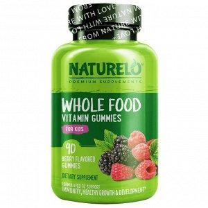 NATURELO, цельнопищевые витаминные жевательные мармеладки для детей, ягодный вкус, 90 жевательных мармеладок