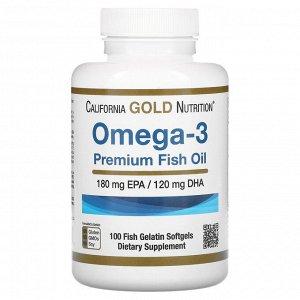 California Gold Nutrition, омега-3, рыбий жир премиального качества, 100капсул из рыбьего желатина