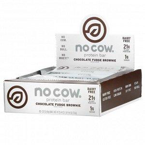 No Cow, Протеиновый батончик, брауни с шоколадной помадкой, 12 батончиков по 60 г (2,12 унции)