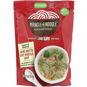Miracle Noodle, Суп с лапшой на костном бульоне, говяжий, 215 г (7,6 унции)