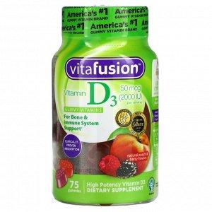 VitaFusion, витаминD3, натуральные персик и ягоды, 50мкг (2000МЕ), 75жевательных таблеток