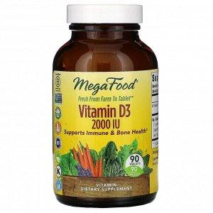 MegaFood, витаминD3, 2000МЕ, 90таблеток