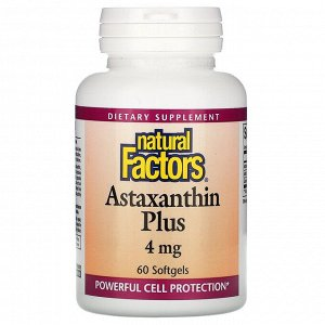 Natural Factors, Astaxanthin Plus, астаксантин, 4мг, 60капсул