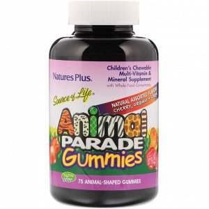 Nature's Plus, Source of Life, детские жевательные конфеты Animal Parade, со вкусом вишни, апельсина и винограда, 75жевательных конфет в форме животных