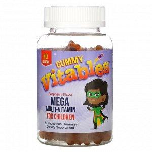 Vitables, жевательные мегамультивитамины для детей, без желатина, малиновый вкус, 60вегетарианских жевательных мармеладок