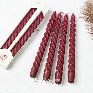 Свечи витые 24.5 см, 2 шт, бордовые (Омский Свечной)