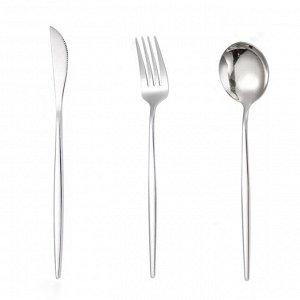 Набор вилка, ложка, нож. Цвет: серебро