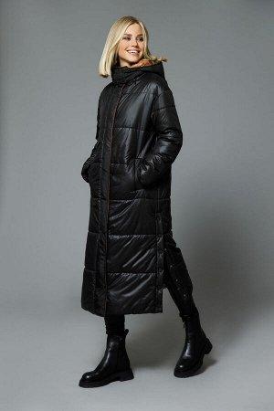 Пальто Пальто DI-LiA FASHION 515 черный  Состав: ПЭ-100%; Сезон: Осень-Зима Рост: 170  Пальто женское полуприлегающего силуэта из плащевой ткани, на подкладке с отстегивающимся капюшоном. Застежка це