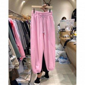 Женские спортивные брюки с широкой резинкой на поясе, цвет розовый