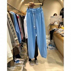 Женские спортивные брюки с широкой резинкой на поясе, цвет синий
