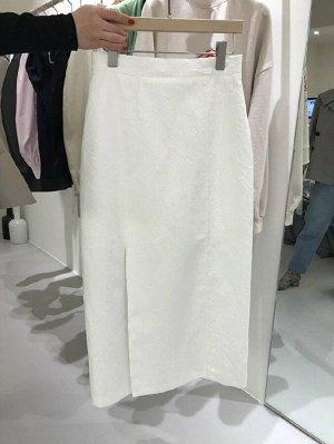 Женская длинная юбка с разрезом, цвет белый