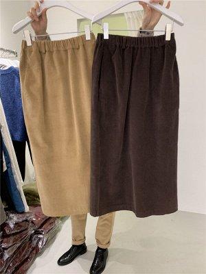 Женская длинная юбка с разрезом, цвет бежево-абрикосовый