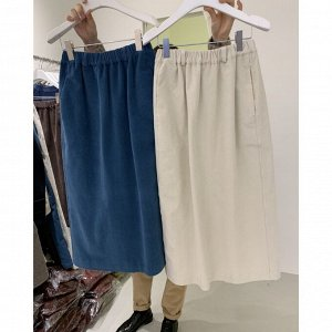 Женская длинная юбка с разрезом, цвет синий