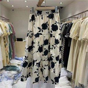 """Женская длинная юбка, принт """"Цветы"""", цвет белый"""