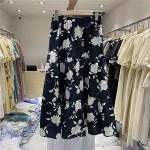 """Женская длинная юбка, принт """"Цветы"""", цвет синий"""