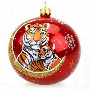 """Елочная игрушка шар стеклянная """"Зодиак. Тигр"""" д9,5см, ручная"""